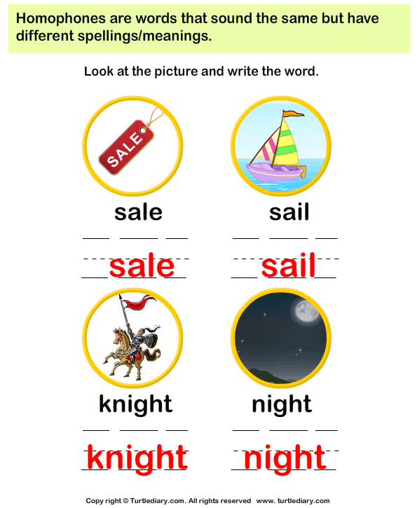 Spell the Homophones Answer