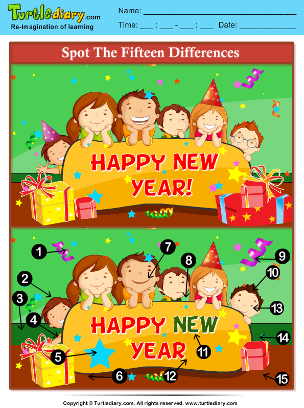 New Year Spot the Difference Answer