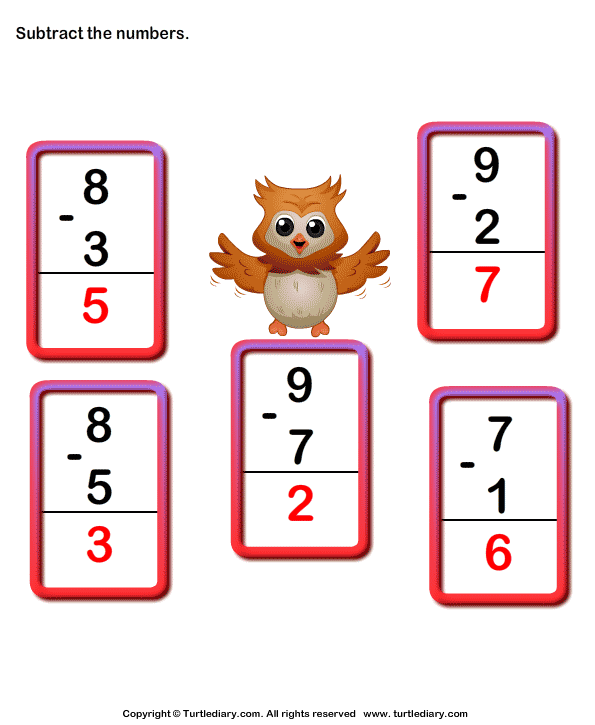 Subtract 1-digit Numbers Answer