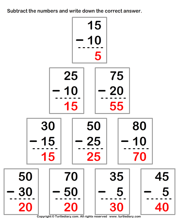 Subtracting from Two-digit Number Answer
