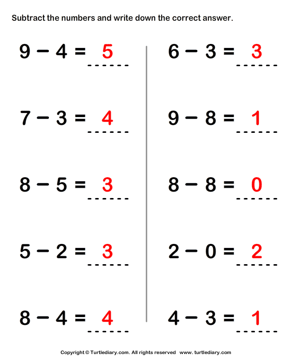 Subtracting Two One-digit Numbers Answer