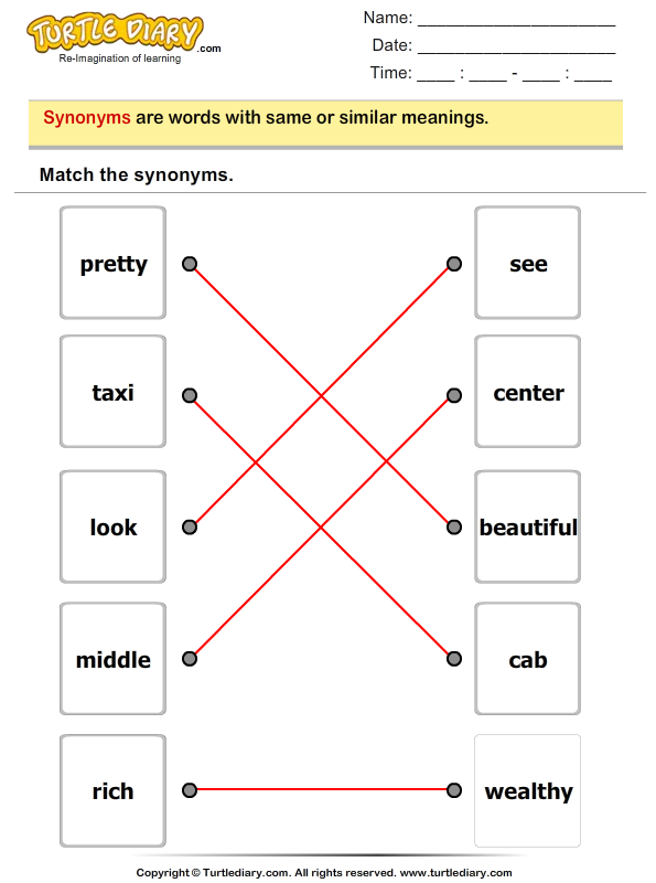 Match the Synonyms Answer