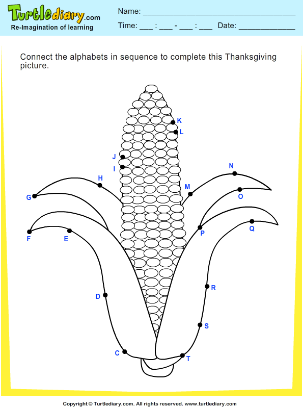Thanksgiving Connect The Dots Worksheet Turtle Diary