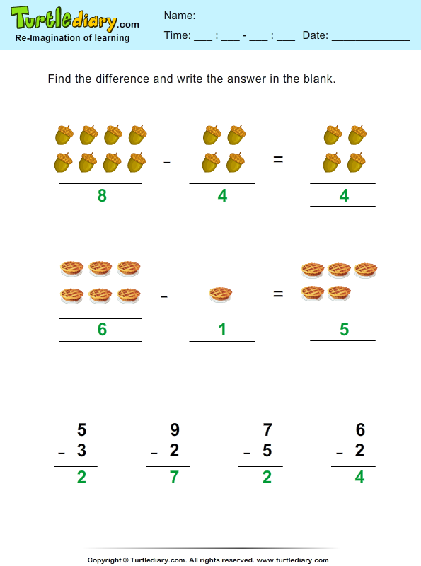 Thanksgiving Subtraction Answer