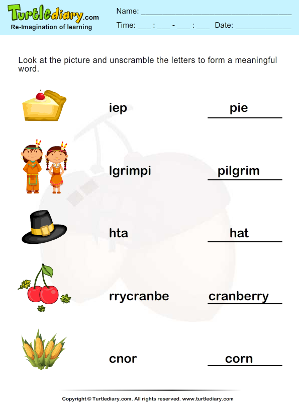 Thanksgiving Vocabulary Answer