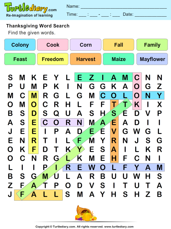 Thanksgiving Word Search Answer