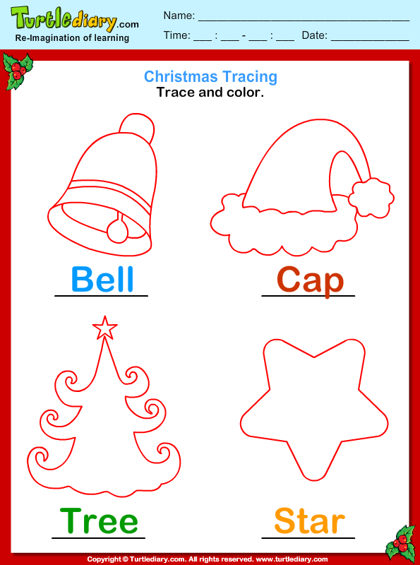 Answer Trace And Color Christmas Vocabulary on number tree worksheets