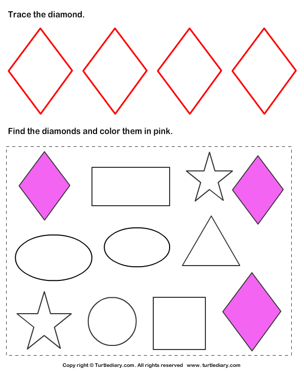 Trace and Color Shape Answer