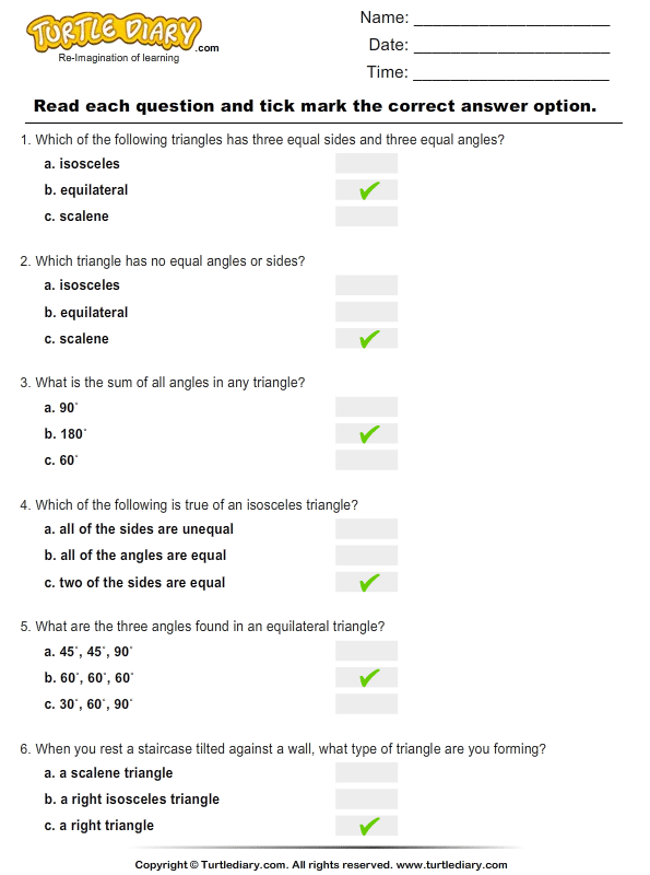 Types of Triangles Worksheet Turtle Diary – Types of Triangles Worksheet