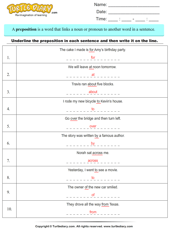 Identify Prepositions Answer