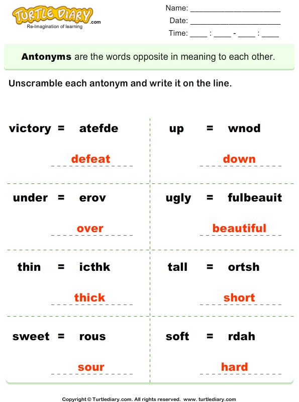 Unscramble Antonyms Answer