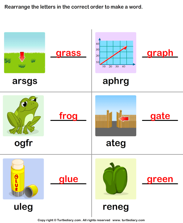 make a word from letters use pictures to unscramble the letters worksheet turtle 50846