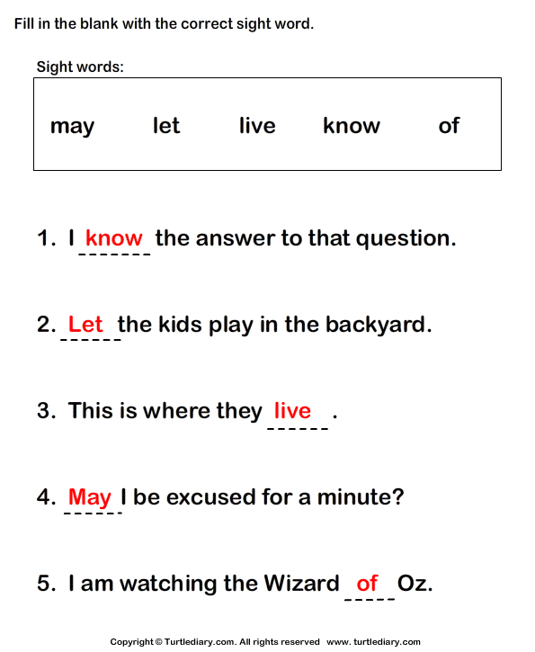 Fill in the Blanks Using Sight Words Answer