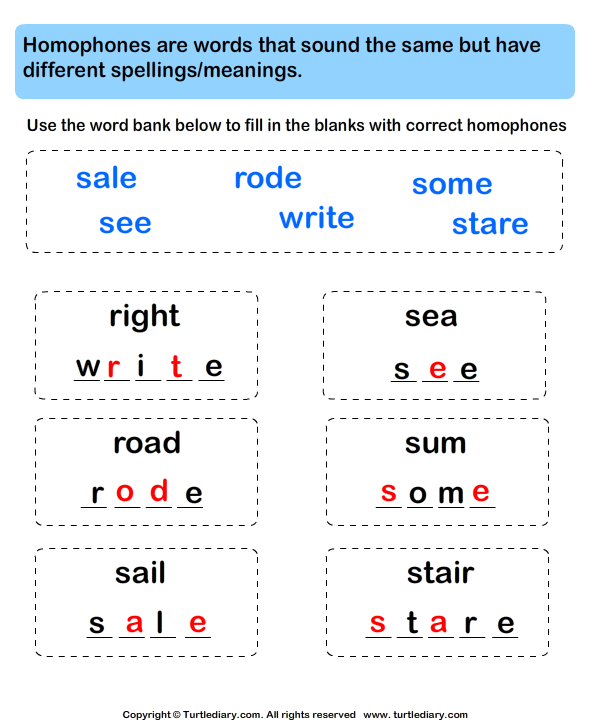 Fill in Letters to Complete the Homophone Answer