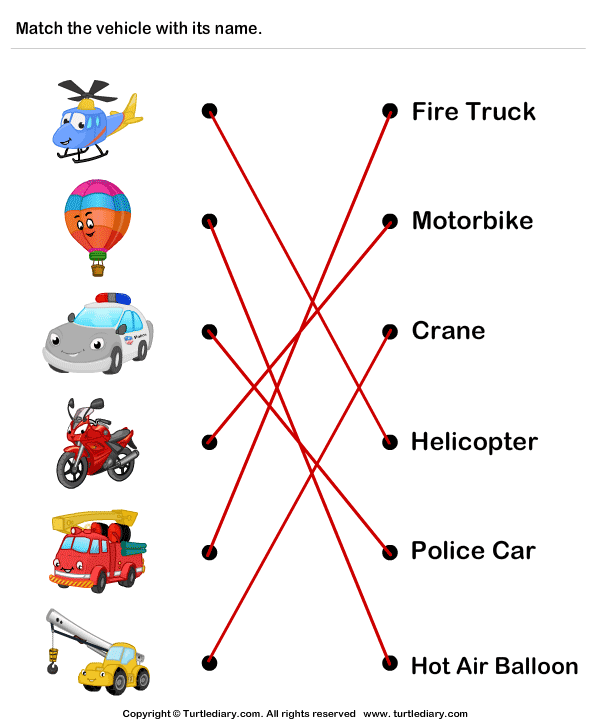 Vehicles - Identify and Match Names Answer
