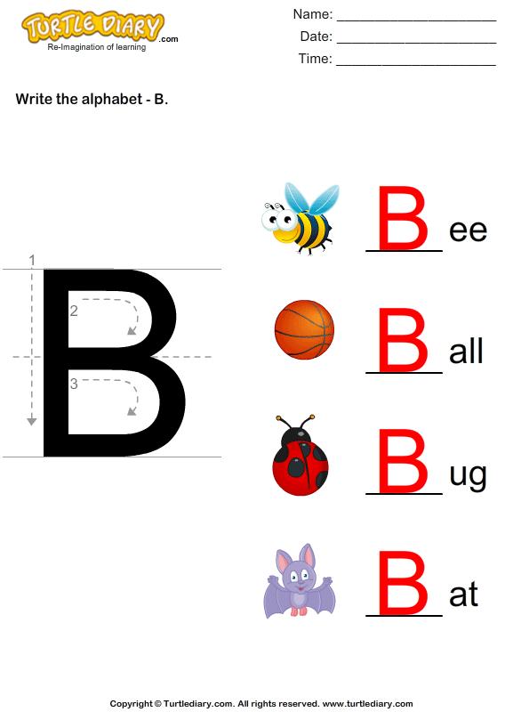 Write Alphabet B in Uppercase Worksheet - Turtle Diary