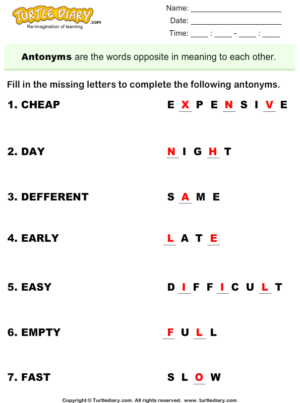 Complete the Antonyms Answer