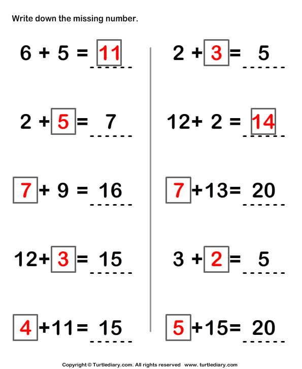 Worksheet 500708 Missing Number Addition Worksheets Addition – Missing Numbers in Addition and Subtraction Worksheets