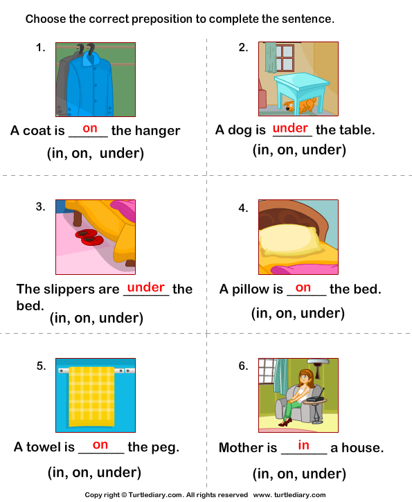 Complete the Sentences Using in, on, and Under Answer