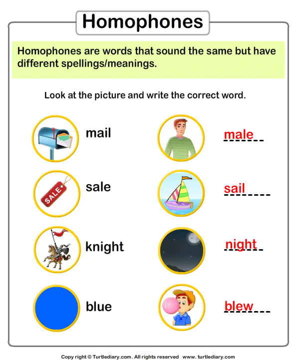 Write the Homophone of Words Answer