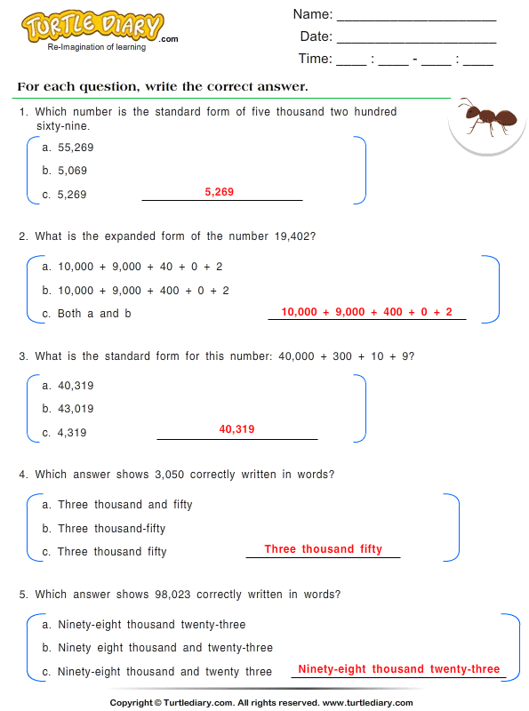 Number Forms : Multiple Choice Questions Answer