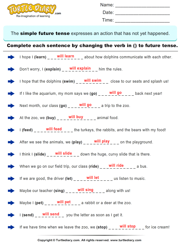 ... Verb in each Sentence in Future Tense Form Worksheet - Turtle Diary