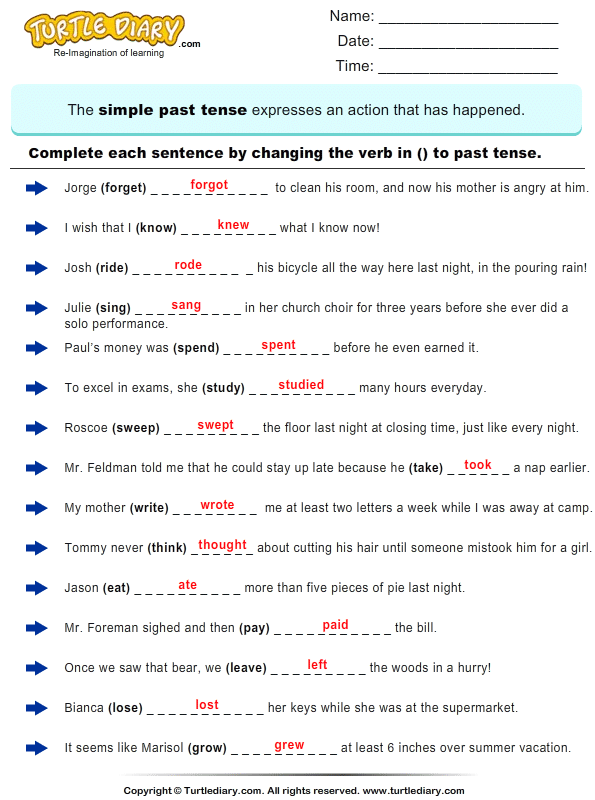 Write Verb in each Sentence in Past Tense Form Worksheet ...