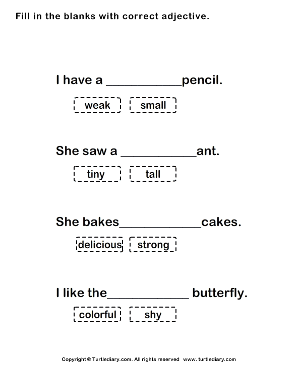 Fill In The Blank Adjective Worksheet 1st Grade on first grade verbs ...