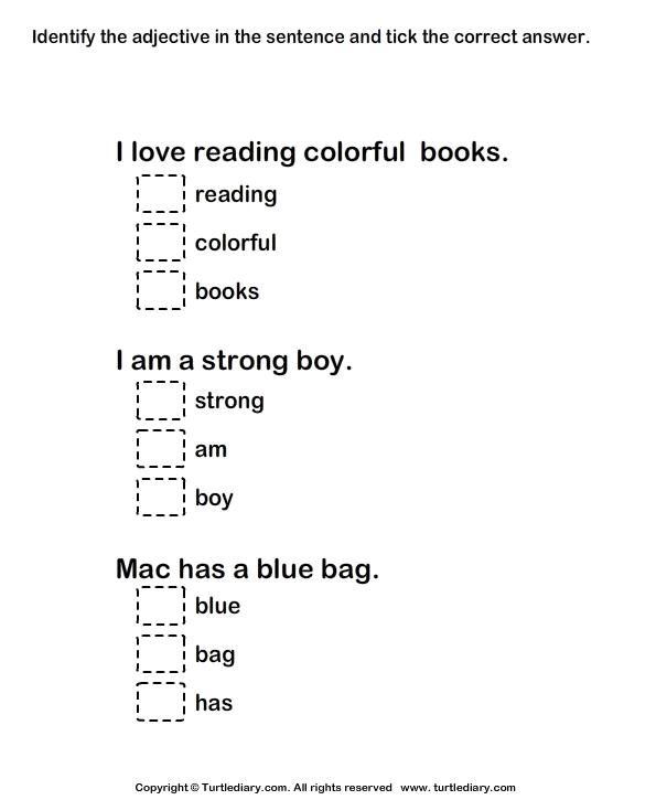 Grade Worksheets Adjectives