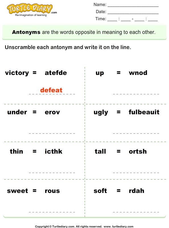 Unscramble antonyms
