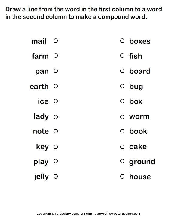 Form Compound Words Worksheet 4 - Turtle Diary