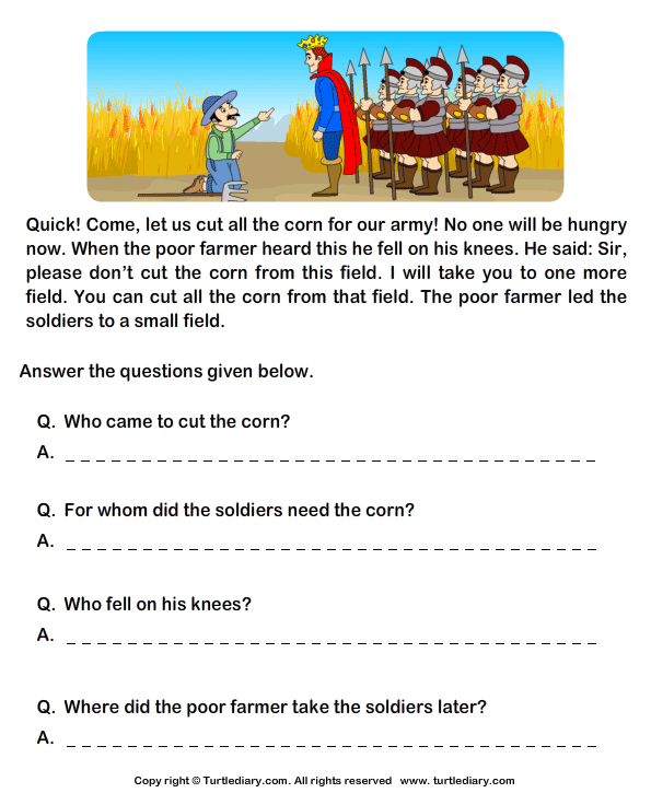Reading Comprehension Stories Worksheet 27 - Turtle Diary