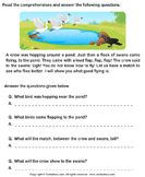 Reading comprehension stories  13 - comprehension - First Grade