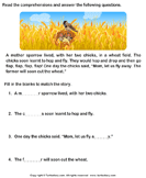 Reading comprehension stories  33 - comprehension - First Grade