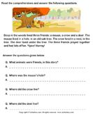 Reading comprehension stories  37 - comprehension - First Grade