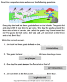 Reading comprehension stories  5 - comprehension - First Grade