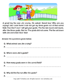 Reading comprehension stories  6 - comprehension - First Grade