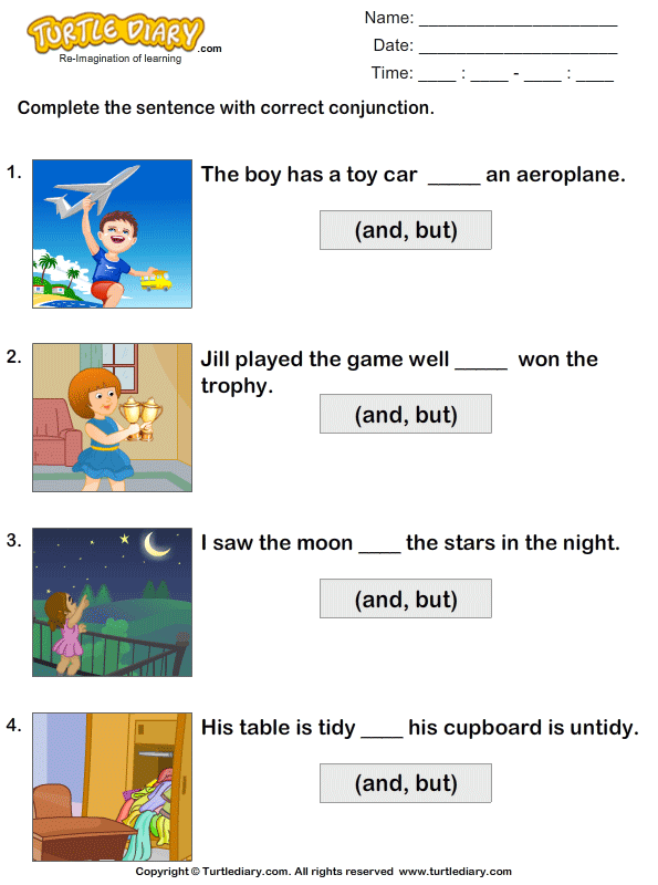 Conjunctions Worksheets - Fill In The Blanks Using ...