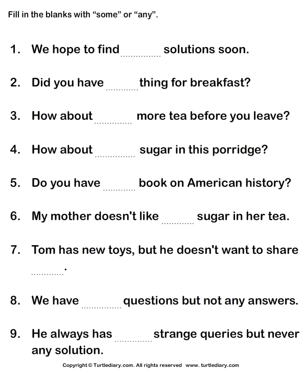 Fill In The Blanks With Some Or Any 5 Worksheet - TurtleDiary.com