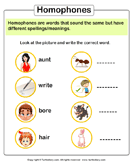 Write the homophone of words 2