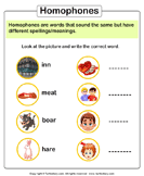 Write the homophone of words 5