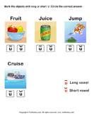 Identify the long or short vowel in words - phonics - First Grade