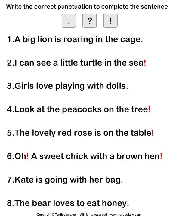 Put the correct punctuation mark - TurtleDiary.com