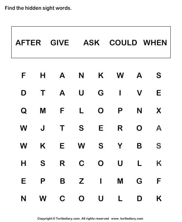 sight crossword grade word 1 worksheets  word for Sight
