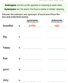 Choose the synonym and antonym of words - antonyms-synonyms - First Grade