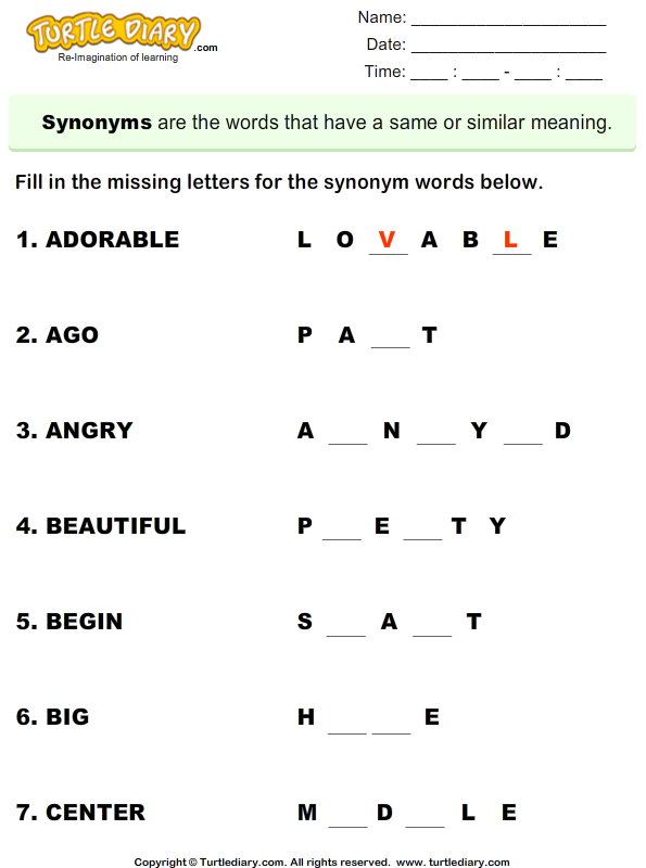 Complete the synonyms