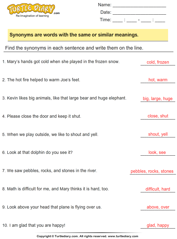Identify and write the synonyms Answer