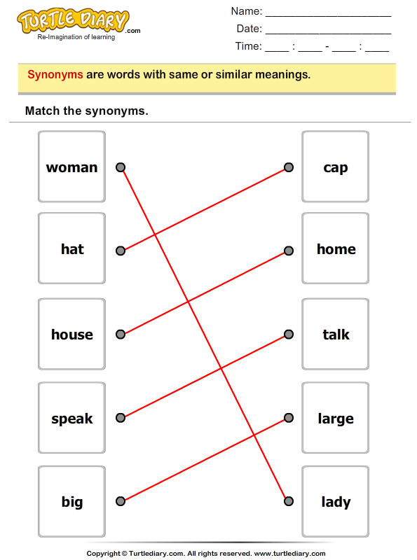 Match The Synonyms 1 Worksheet - TurtleDiary.com