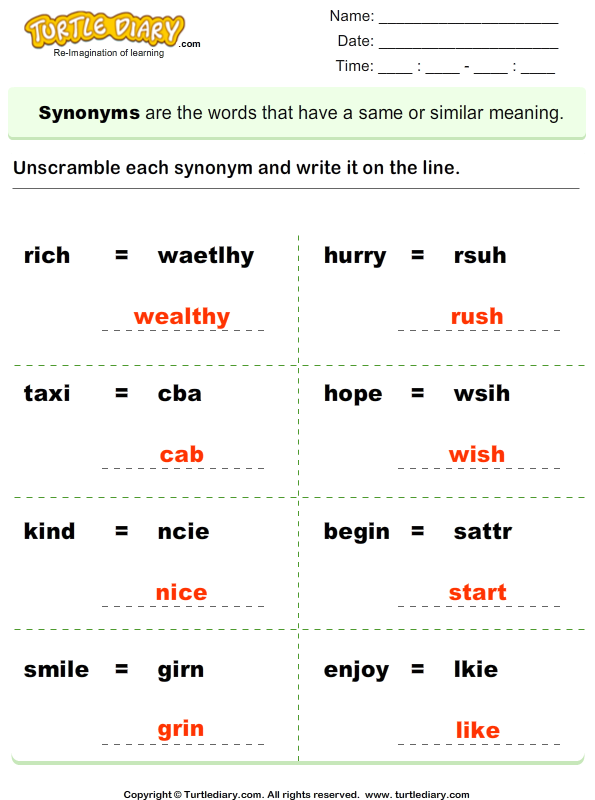 Unscramble synonyms Answer