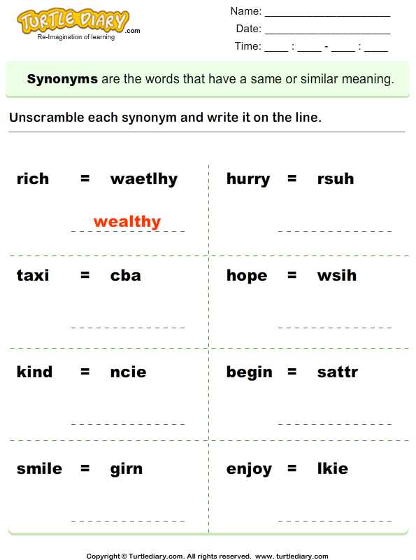 Unscramble synonyms
